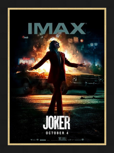 An original IMAX movie poster for the film Joker with Joaquin Phoenix