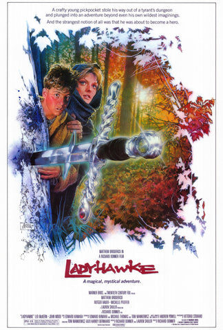 An original movie poster for the film Ladyhawke
