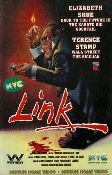 The VHS video cover for the 1980s film Link