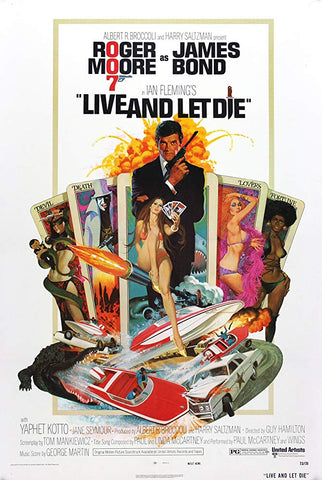 An original movie poster for the film Live and Let Die