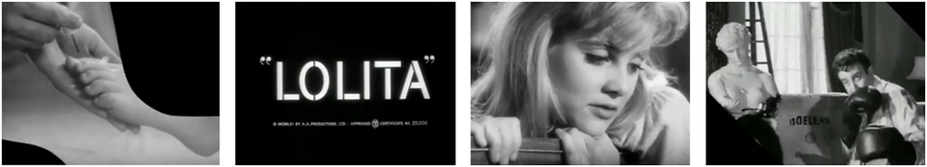 Some still photos from the movie / film trailer for Kubrick's Lolita