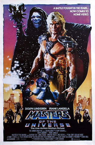 An original movie poster for the film Masters of the Universe