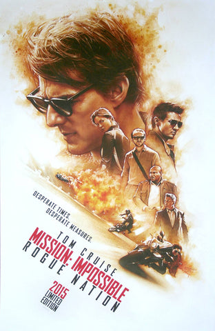 Steve Chroney illustration of the movie poster for Mission Impossible Rogue Nation