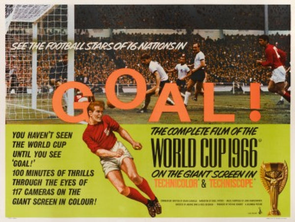 An original movie poster for the world cup 1966 film Goal