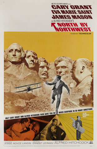 An original movie poster for the Hitchcock film North by Northwest