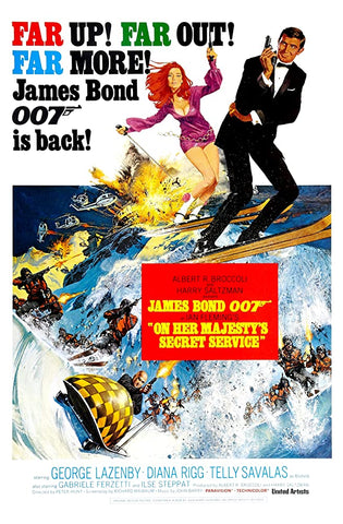 A movie poster by Frank McCarthy for the James Bond film On Her Majesty's Secret Service
