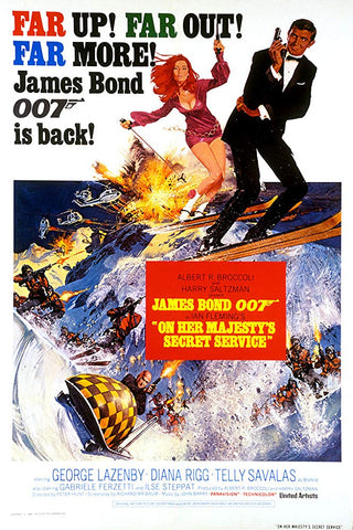 An original movie poster for the James Bond film On Her Majesty's Secret Service
