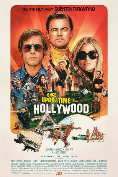 The movie poster for the film Once Upon A Time in Hollywood, illustrated by Steve Chorney