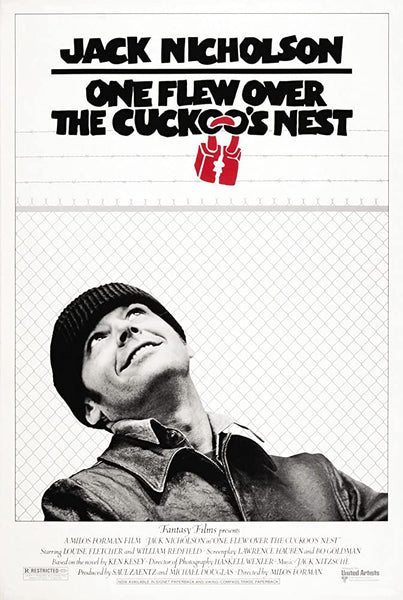 An original movie poster for the film One Flew Over The Cuckoo's Nest