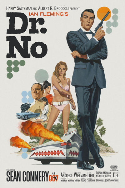 An unofficial movie poster for the James Bond film Dr No by Paul Mann