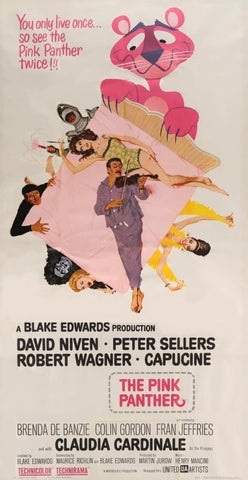 An original movie poster for the film The Pink Panther