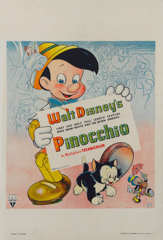 An original movie poster from 1940 for Disney's Pinnochio