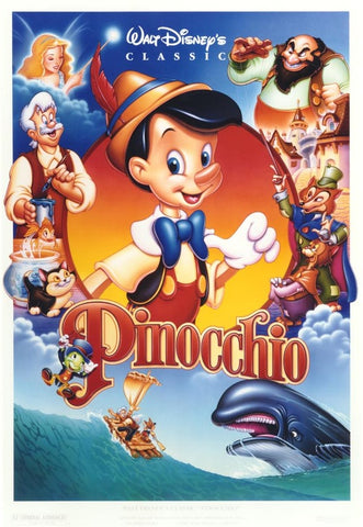 An original movie poster for Pinocchio by John Alvin