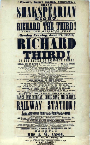 A playbill for a Shakesperean production in Inverness, 1850