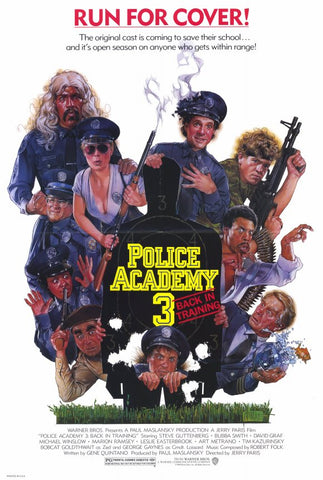 An original movie poster for the film Police Academy 3