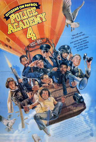 An original movie poster for the film Police Academy 4