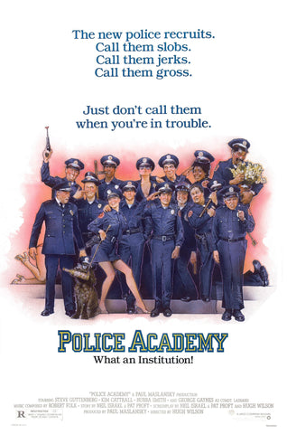 An original movie poster for the film Police Academy