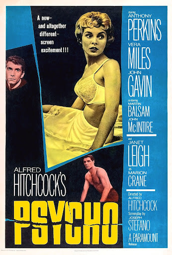 An original movie poster for the Hitchcock film Psycho