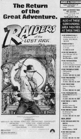 "Ad for ""Raiders of the Lost Ark"" from The Philadelphia Inquirer; Friday, July 23rd, 1982"