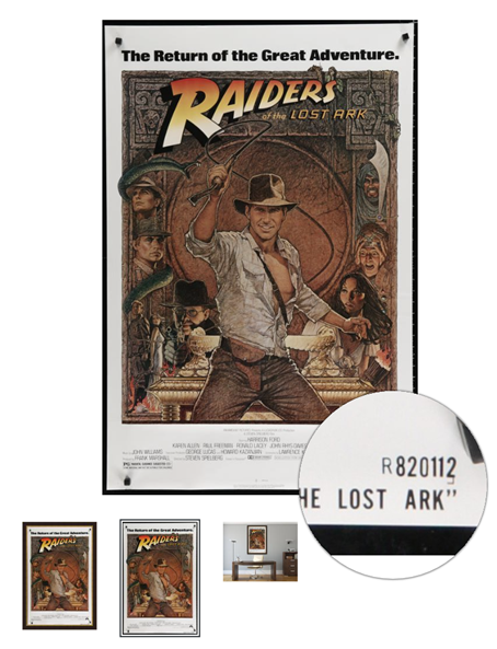 Close up of the NSS number of a One Sheet Movie Poster for Raiders of the Lost Ark