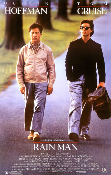 An original movie poster for the film Rain Man by John Alvin