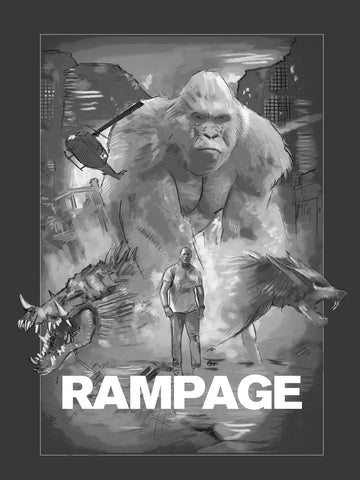 A sketch by Richard Davies for a movie poster for the film Rampage
