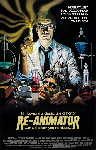 An original movie poster for the film Re-Animator