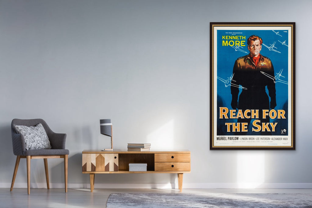 Reach for The Sky One Sheet Movie Poster shown framed and in a room