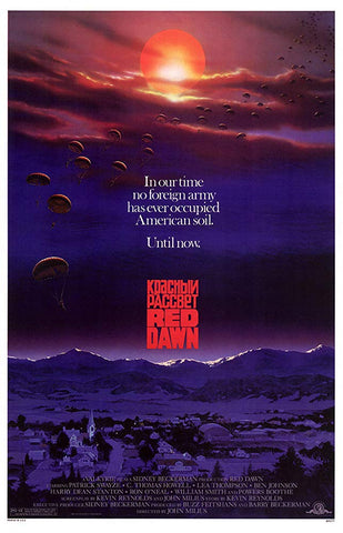 An original movie poster for the film Red Dawn by John Alvin