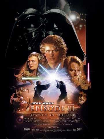 An original movie poster for the Star Wars film Revenge of the Sith