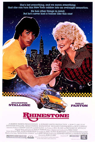An original movie poster for the film Rhinestone by John Alvin