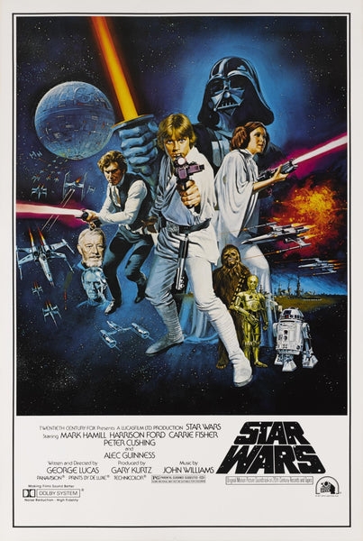 An original movie poster for the film Star Wars (A New Hope)