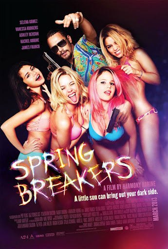An original movie poster for the A24 film Spring Breakers