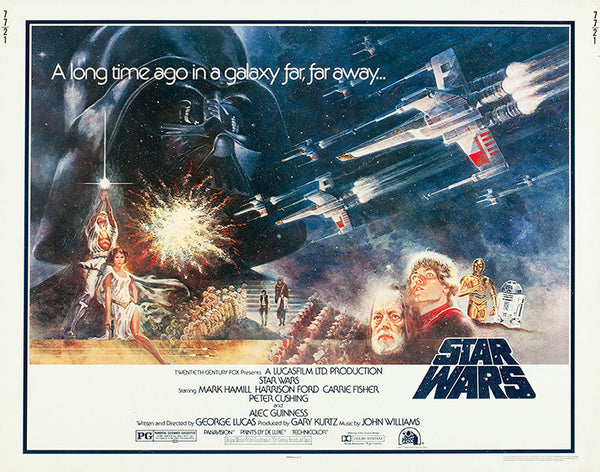 An original half sheet movie poster for the film Star Wars 1977