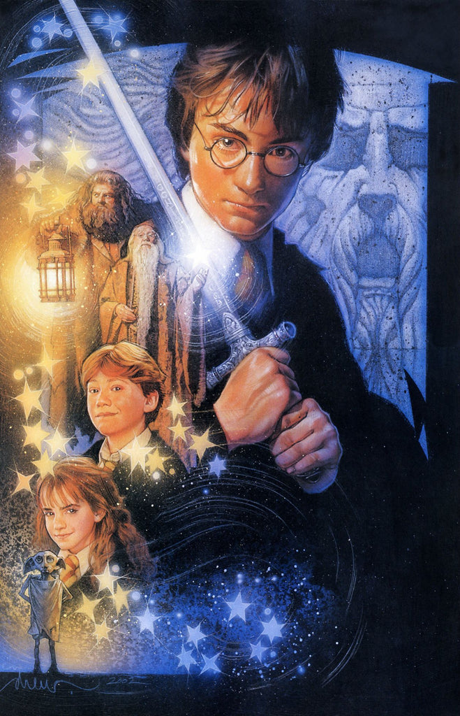 An unused poster by Drew Struzan for Harry Potter and the Chamber of Secrets