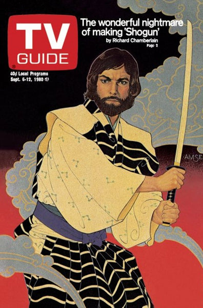 Richard Amsel's artwork for TV Guide showing Richard Chamberlain in Shogun