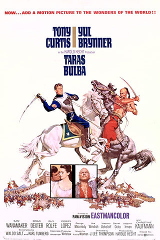 A movie poster by Frank McCarthy for the film Taras Bulba