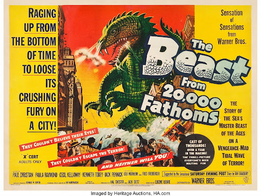 An original movie poster for the film The Beast From 20,000 Fathoms