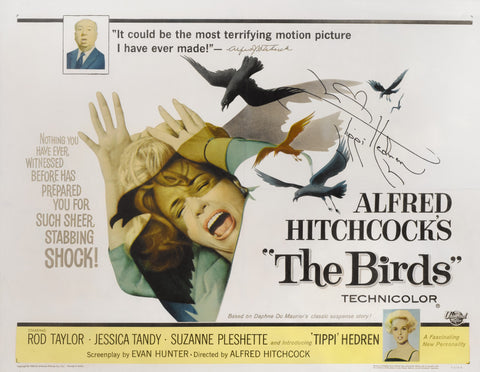 An original movie poster for the Hitchcock film The Birds