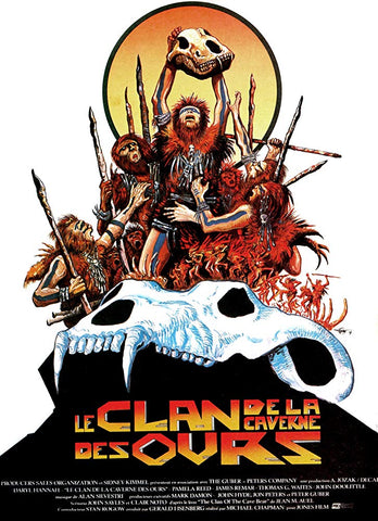 An original movie poster for the film The Clan of the Cave Bear