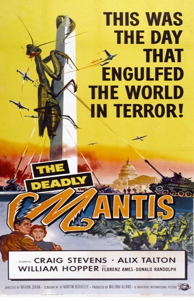 An original movie poster for the film The deadly Mantis