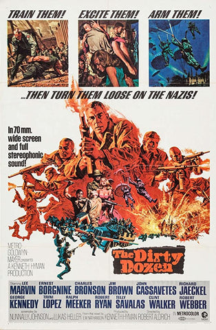 A movie poster by Frank McCarthy for the film The Dirty Dozen