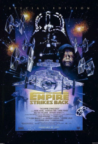 An original movie poster for the film The Empire Strikes Back