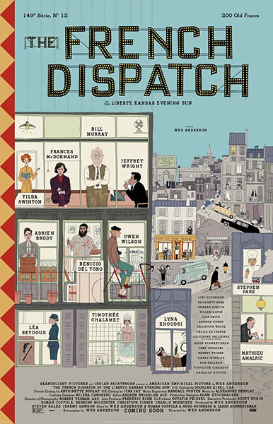 An original movie poster for the Wes Anderson film The French Dispatch