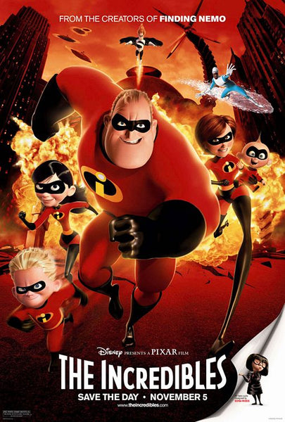 An original movie poster for the Pixar film The Incredibles