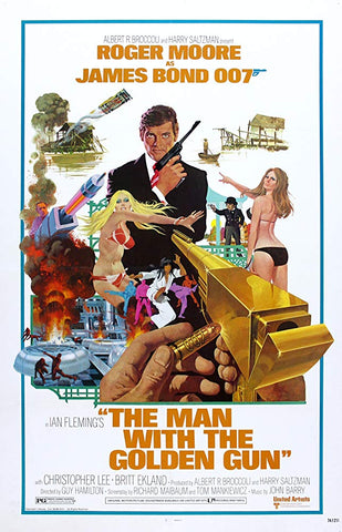 An original movie poster for the film The Man with the Golden Gun