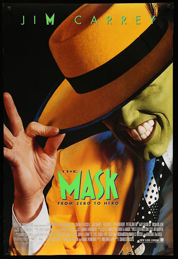 An original movie poster for the Jim Carrey film The Mask