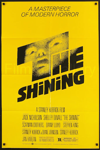 An original movie poster for the film The Shining