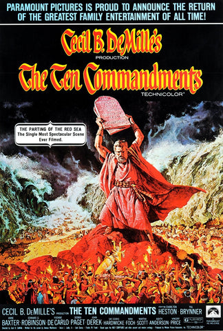 A movie poster by Frank McCarthy for the film The Ten Commandments