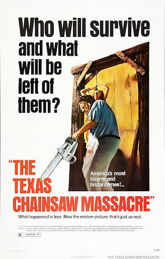 An original movie poster for the film The Texas Chainsaw Massacre